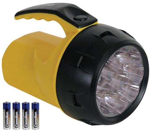 Lanterna 9 LEDs Potentes c/ 4 Pilhas Incluídas - PEREL