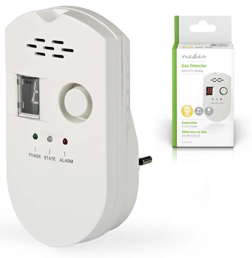 Detector de Gás Natural/LPG/Carvão 220V c/ Alarme Visual e Sonoro - NEDIS