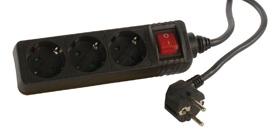 Extensão Tripla c/ Interruptor (1,5 mts) - Preto