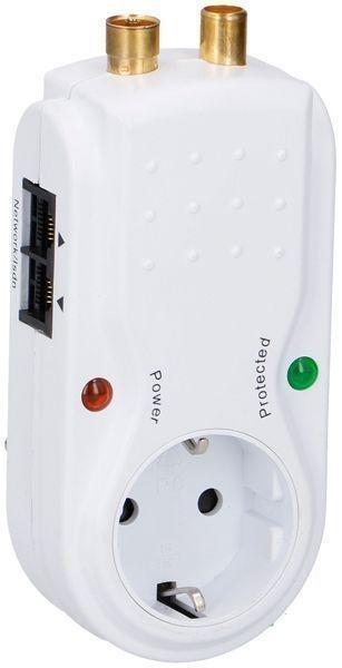 Tomada Protectora Contra Sobrecargas 3680W 16A c/ Fichas TV, RJ45 e Telefone