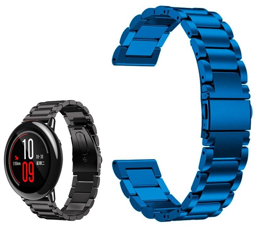 Correia Met. Elos (Azul) p/ Xiaomi Amazfit Pace/Stratos/Stratos2S/GTR 47mm/Ticwatch/Huawei/Sams