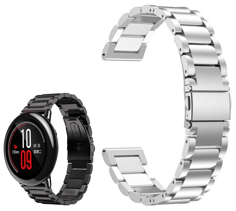 Correia Met. Elos (Prateado) p/ Xiaomi Amazfit Pace/Stratos/Stratos2S/GTR 47mm/Ticwatch/Huawei/Sams
