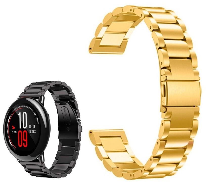 Correia Met. Elos (Dourado) p/ Xiaomi Amazfit Pace/Stratos/Stratos2S/GTR 47mm/Ticwatch/Huawei/Sams