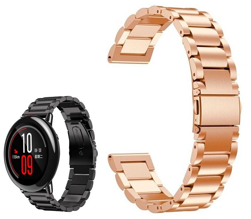 Correia Met. Elos (Rosa) p/ Xiaomi Amazfit Pace/Stratos/Stratos2S/GTR 47mm/Ticwatch/Huawei/Sams