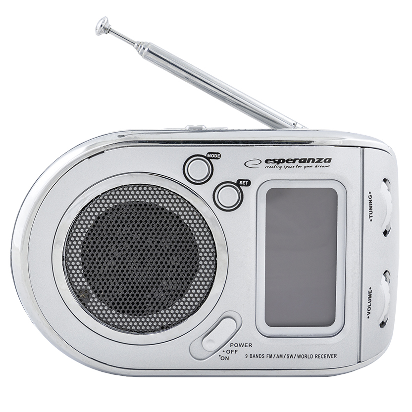 Rádio Portátil AM/FM Digital c/ Alarme Relógio (Cinza) - ESPERANZA