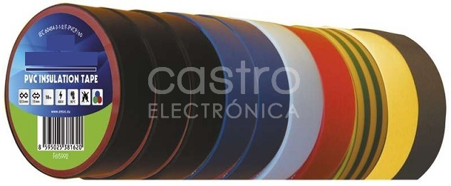 Emb. 10x Fitas Isoladoras Multi-Cores (20 mts x 19 mm x 0,13 mm) - ProFTC