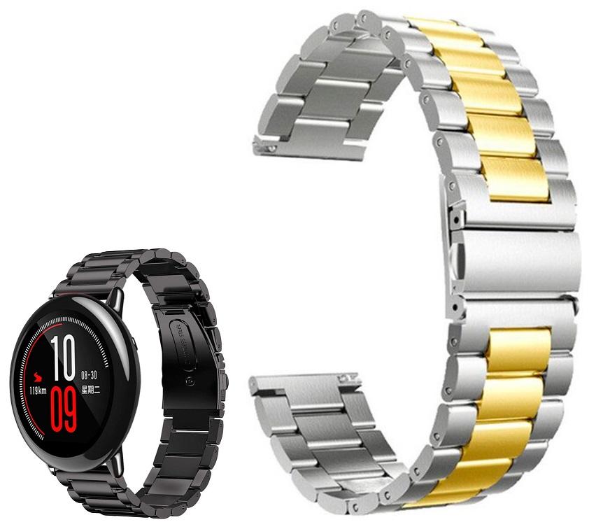 Correia Met. Dual Elos (Dourado) p/ Xiaomi Amazfit Pace/Stratos/Stratos2S/GTR 47mm/Ticwatch/Huawei/