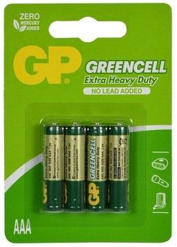 Blister 4 Pilhas GREENCELL R03 AAA - GP