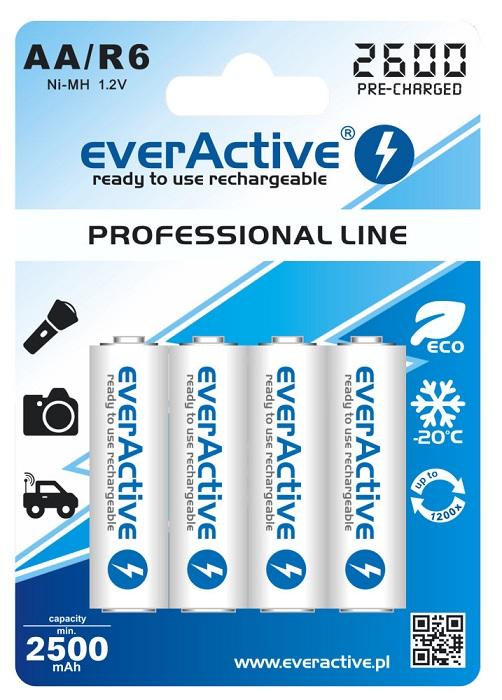 Blister 4 Pilhas Recarregáveis 1,2V AA Ni-Mh 2600mAh (min 2500mAh) RTU  - everActive