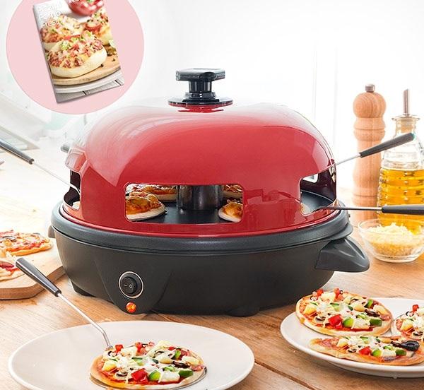 Forno p/ Mini Pizzas 700W c/ Livro de Receitas (Vermelho/Preto) - ProFTC