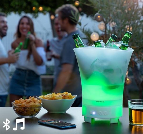 Balde de Gelo p/ Bebidas c/ Coluna Bluetooth/LED/Recarregável IPX4 - ProFTC