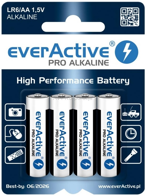 Blister 4 Pilhas Ind. Alcalinas 1,5V LR6 AA - everActive INDUSTRIAL