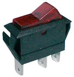 Interruptor Estreito Luminoso OFF-ON 20A/12V (2 Polos / 3 Pinos)