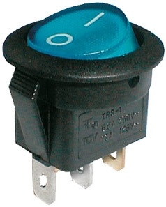 Interruptor Redondo Luminoso ON-OFF 250V/6A - Azul