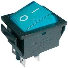 Interruptor Bipolar 2C - 2P 16A - 250V - Azul Luminoso
