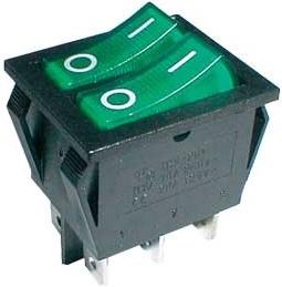 Interruptor Duplo Luminoso ON-OFF 250V/15A - Verde