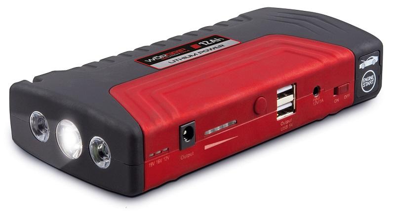 Arrancador de Baterias Auto (12 Amp.) c/ 2 USB, LED, Ficha Isqueiro - WORGRIP