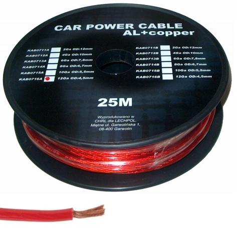 Bobine Cabo Alimentação p/ Amplificadores Auto Vermelho (25 mts)