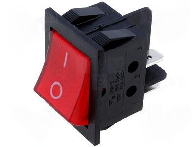 Interruptor Bipolar 2C - 2P 15A - 250V Luminoso - Vermelho