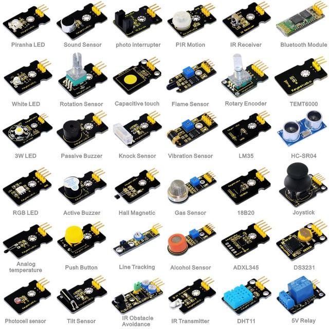 Kit Educacional Iniciação c/ 36 Sensores Diversos para Arduino/Funduino