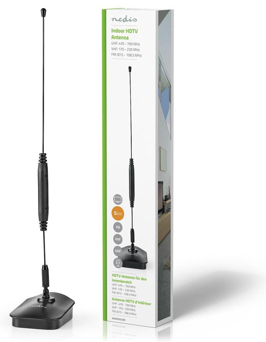 Antena Interior FM-DAB-VHF-UHF-TDT Ganho 5~7dB - NEDIS