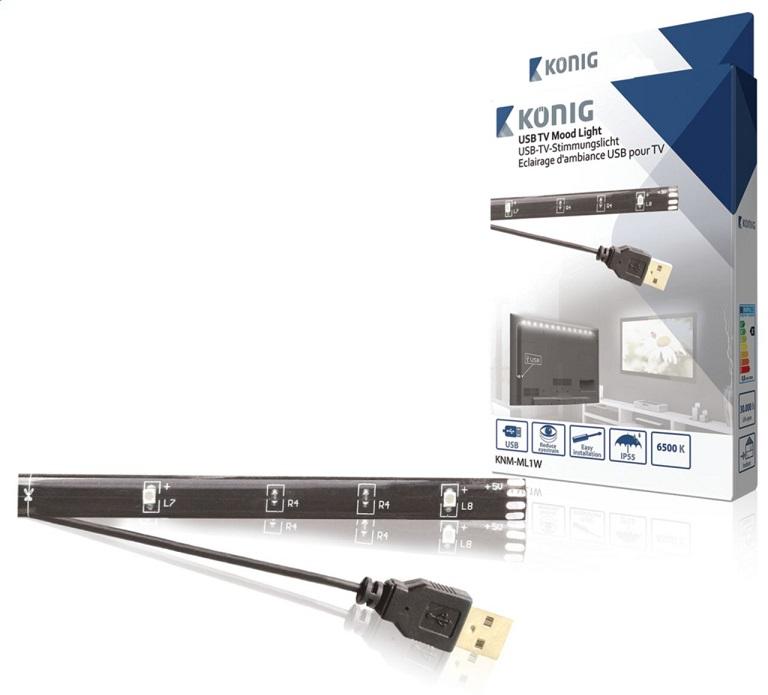 Luz Ambiente Branco Frio (USB) p/ TVs LCDs - Konig