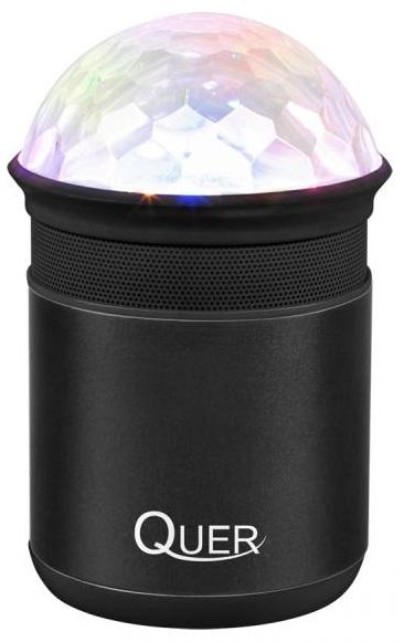 Coluna Mini Portátil LEDs Efeitos RGB c/ Leitor FM, USB, MiniSD, MP3, Bluetooth (Preto) - QUER