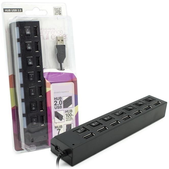 HUB USB 7 Portas ON-OFF c/ Alimentação - ProFTC