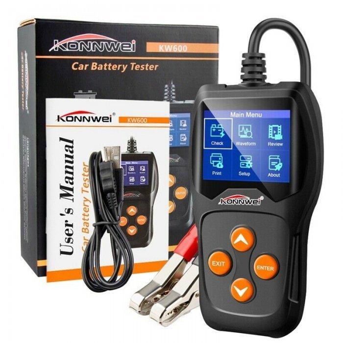 Testador/Medidor de Baterias Profissional 12V Auto/Moto - Konnwei