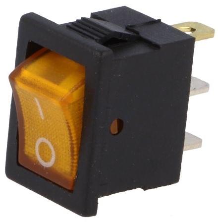 Interruptor DPST ON-OFF Luminoso 3 Ligações 6A / 250VAC - Laranja