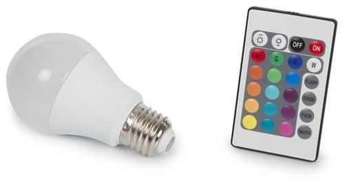 Lampada LED A60 220V E27 RGB + Branco Q. 3000K 7,5W c/ Comando - PEREL