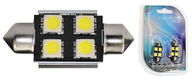 Blister 2x Lampadas LED C5W (CANBUS) 36mm Branco 6000K (4 x SMD5050)