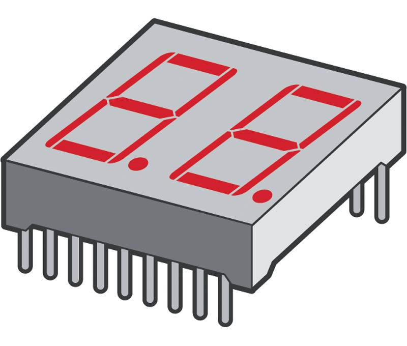 Display 2 Digitos Ânodo Comum 7 Segmentos (25,3x17,7x7,0mm)