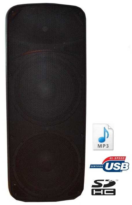 Coluna Amplificada 2x 15 ABS (Reforçado) 800W RMS c/ Leitor MP3 e FM USB/SD - ACOUSTIC CONTROL
