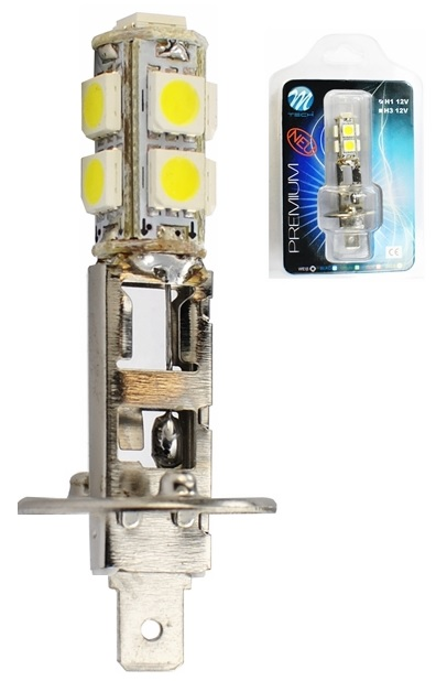 Lampada 9 LEDs SMD5050 H1 12V Branco 6000K