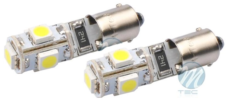 Blister 2x Lampadas 5 LEDs SMD 12V Branco 6000K BA9s CANBUS