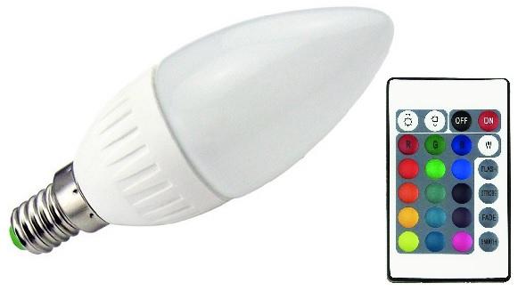 Lampada LED C37 220V E14 RGB + Branco 4000K 5,5W c/ Comando