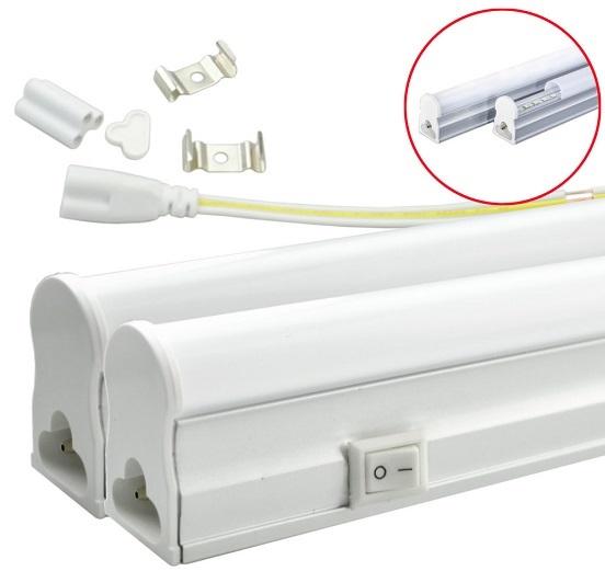 Armadura LED T5 24...28W 220V 6400K 2000Lm Opalina c/ Interruptor (1,50 mts)