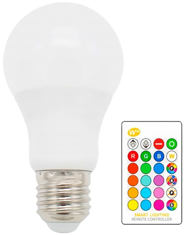Lampada LED A60 220V E27 RGB + Branco 10W c/ Comando