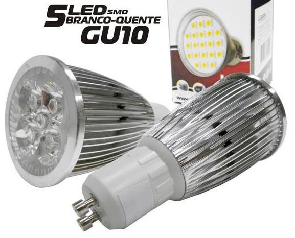 Lampada 5 LEDs SMD 5050 5W GU10 Branco Quente 220V