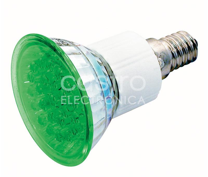 Lampada 24 LEDs 220V E14 1,8W Verde