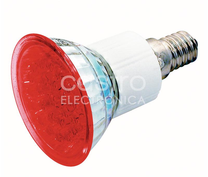 Lampada 24 LEDs 220V E14 1,8W Vermelho