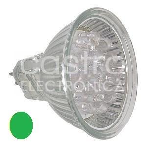 Lampada c/ 24 LEDs 1,8W MR16, Cor Verde 12V