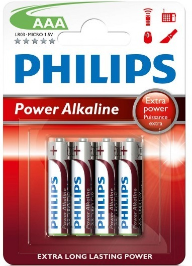 Blister 4 Pilhas Alcalinas 1,5V LR03 AAA - PHILIPS