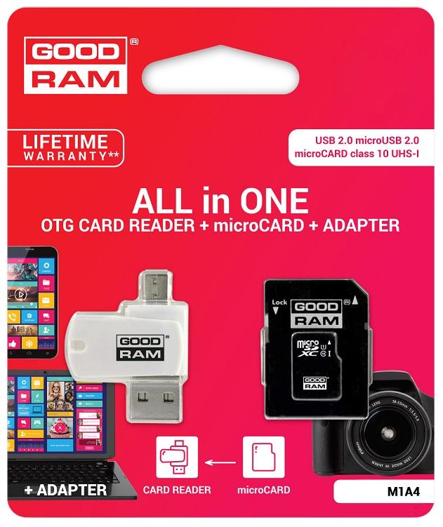 Cartão Memória MicroSD 64GB (CLASS 10) 4-EM-1 c/ Adaptadores SD e PEN USB/OTG - GOODRAM