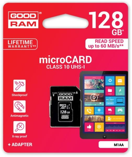 Cartão de Memória 128GB UHS-I MicroSD + Adaptador SD (CLASS 10) - GOODRAM