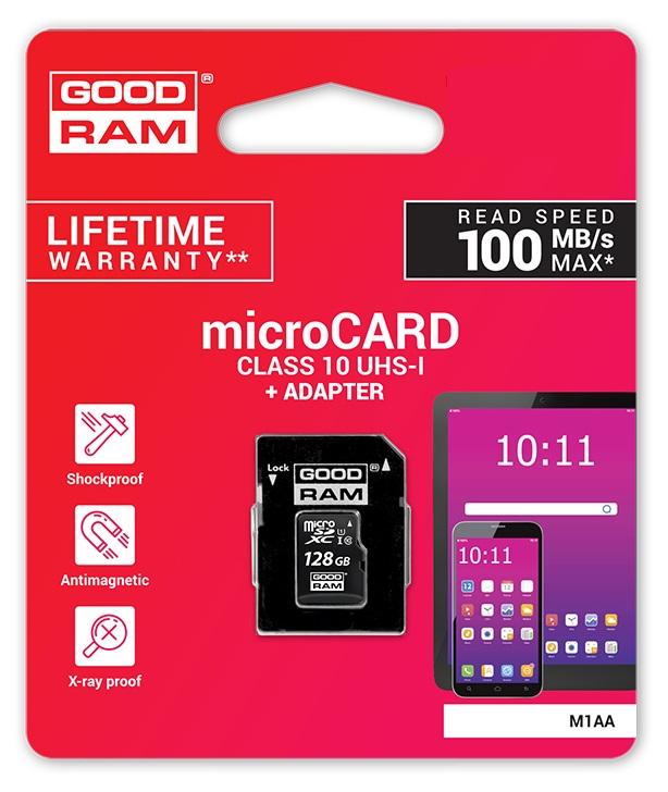 Cartão de Memória 256GB UHS-I MicroSD + Adaptador SD (CLASS 10) - GOODRAM