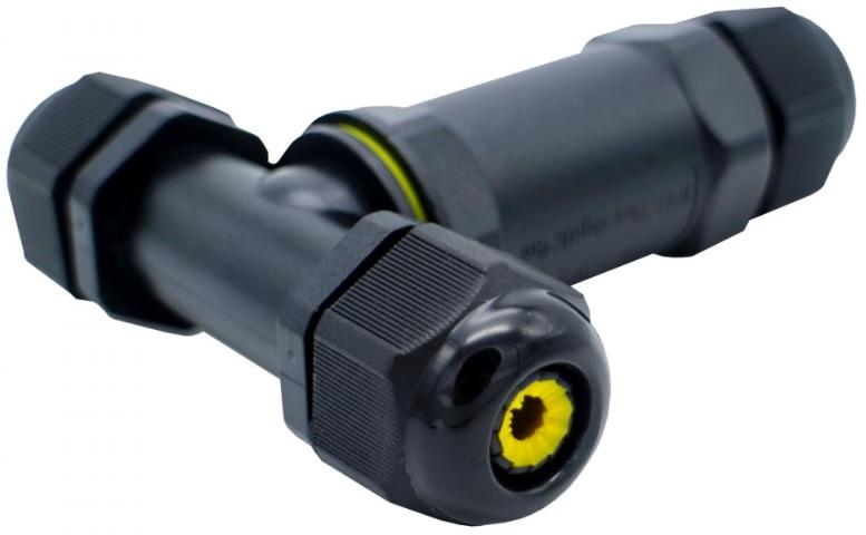 Ligador Estanque (3 Pinos) em T 1.0~2.5mm2 IP68 p/ Instalações Eléctricas Exteriores