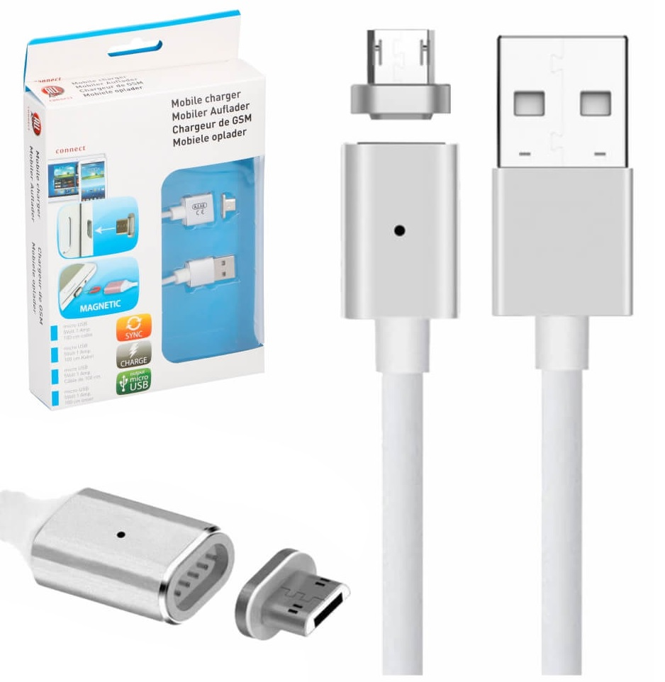 Cabo Magnético USB2.0 A -> micro USB Macho (ANDROID) 1 metro - ALL Ride