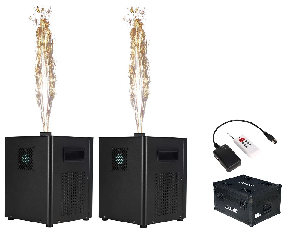 Pack 2x Máquinas de Fogo Artificio 500W DMX c/ Rack Transporte + Comando (1 a 4 Metros Altura)